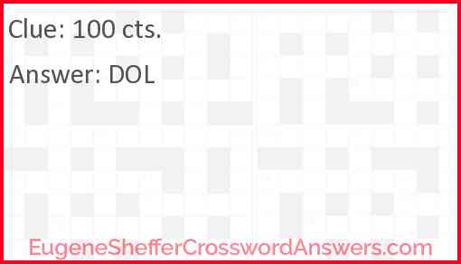 100 cts. Answer