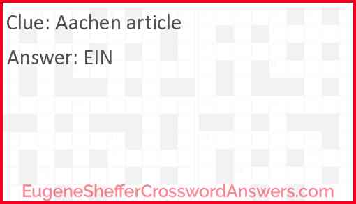 Aachen article Answer
