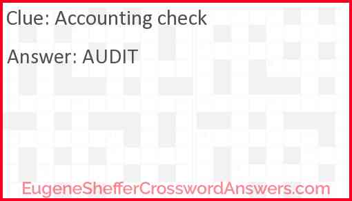 Accounting check Answer