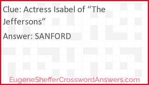 "Actress Isabel of ""The Jeffersons"" Answer"
