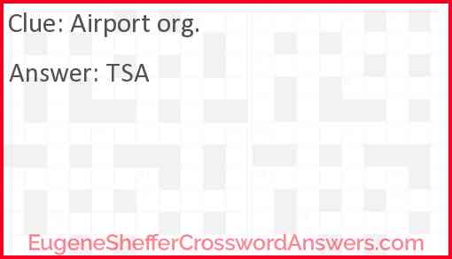 Airport org. Answer