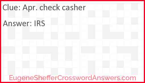 Apr. check casher Answer