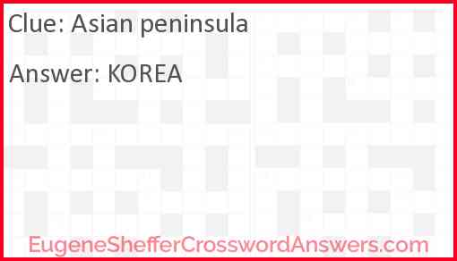 Asian peninsula Answer