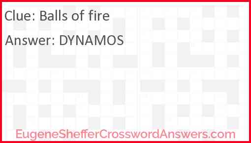Balls of fire Answer
