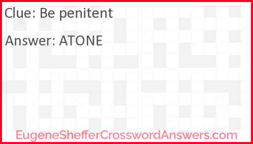 Be penitent Answer