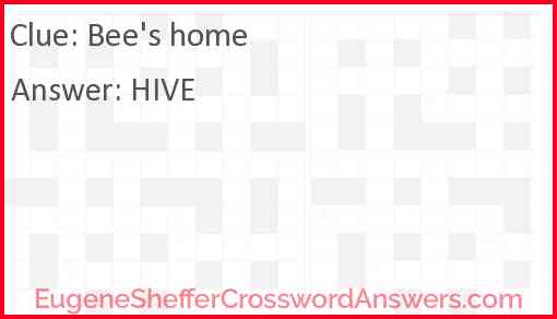 Bee's home Answer