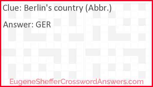 Berlin's country (Abbr.) Answer