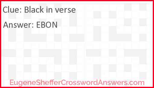 Black in verse Answer