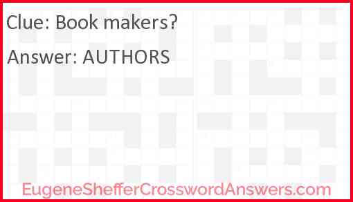 Book makers? Answer