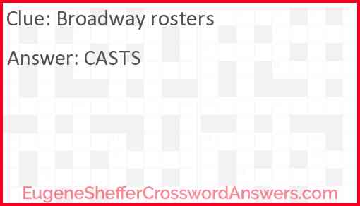 Broadway rosters Answer
