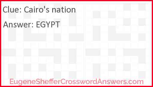 Cairo's nation Answer