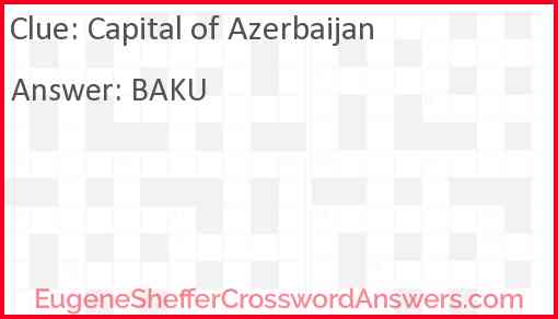 Capital of Azerbaijan Answer