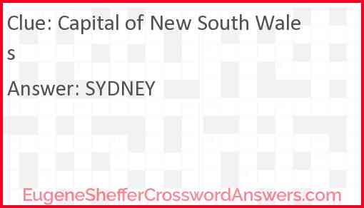 Capital of New South Wales Answer