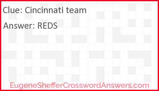 Cincinnati team Answer