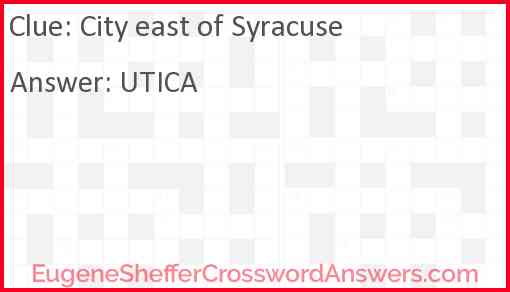 City east of Syracuse Answer