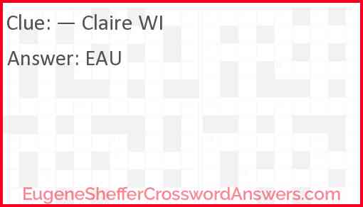 — Claire WI Answer