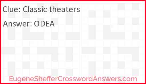 Classic theaters Answer