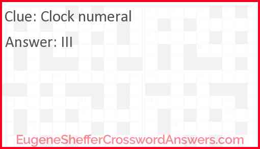 Clock numeral Answer