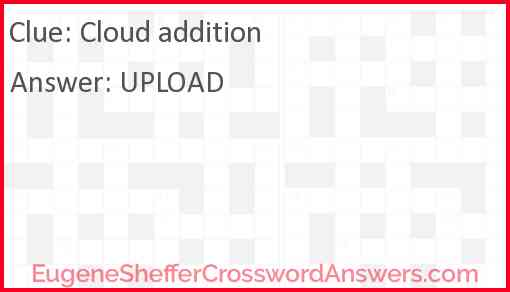 Cloud addition crossword clue