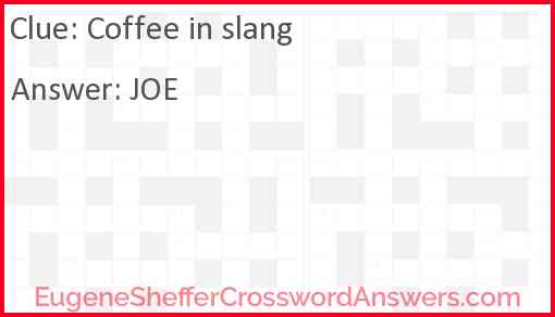 Coffee in slang Answer