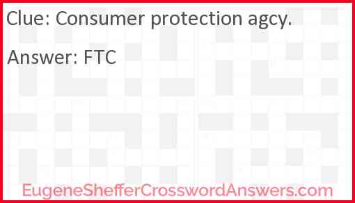 Consumer protection agcy. Answer