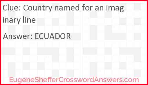 Country named for an imaginary line Answer