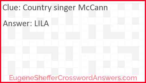 Country singer McCann Answer