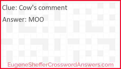 Cow's comment Answer