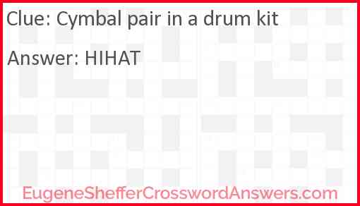 Cymbal pair in a drum kit Answer