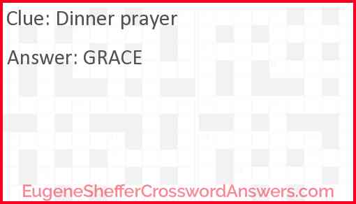 Dinner prayer Answer