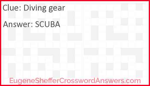 Diving gear Answer
