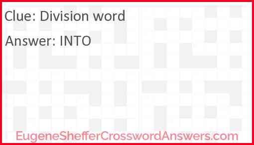 Division word Answer