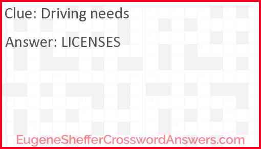Driving needs Answer