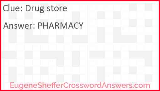 Drug store Answer