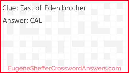 """East of Eden"" brother Answer"