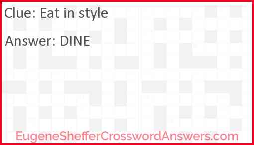 Eat in style Answer