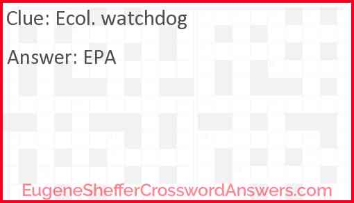 Ecol. watchdog Answer