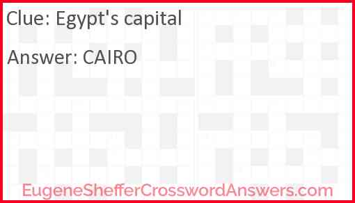 Egypt's capital Answer