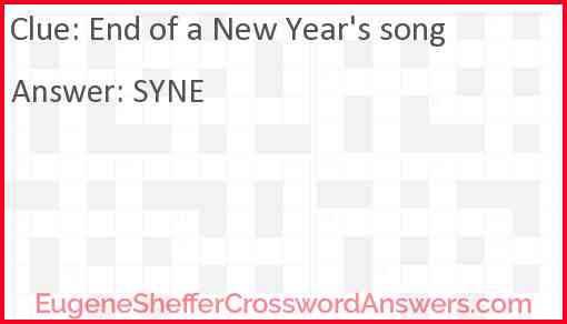 End of a New Year's song Answer