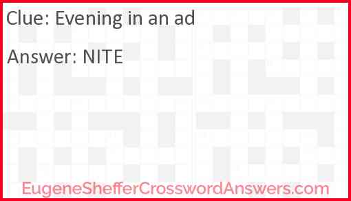 Evening in an ad Answer