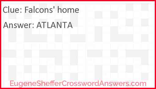 Falcons' home Answer