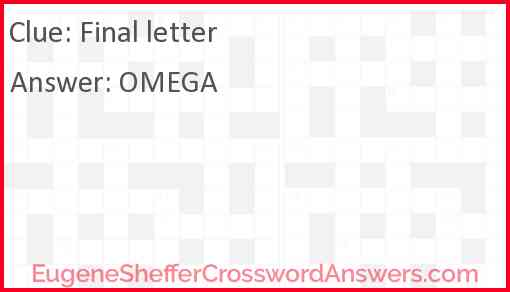 Final letter Answer