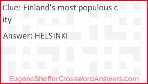 Finland's most populous city Answer