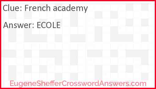 French academy Answer