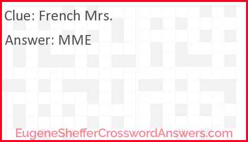 French Mrs. Answer