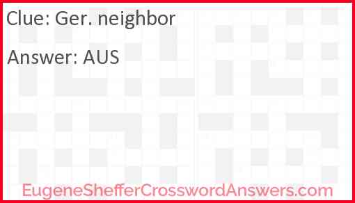 Ger. neighbor Answer