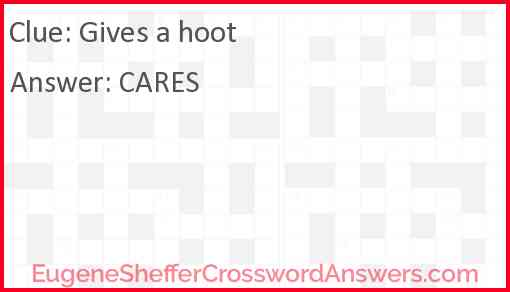 Gives a hoot Answer