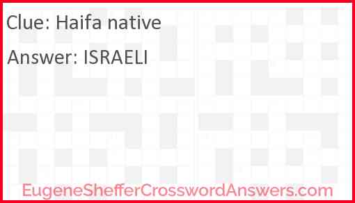 Haifa native Answer