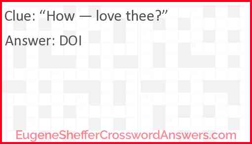 """""""How — love thee?"""" Answer"""