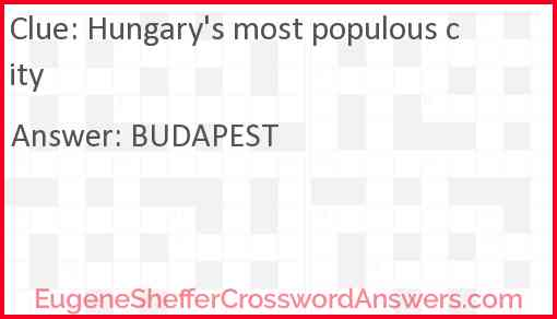 Hungary's most populous city Answer